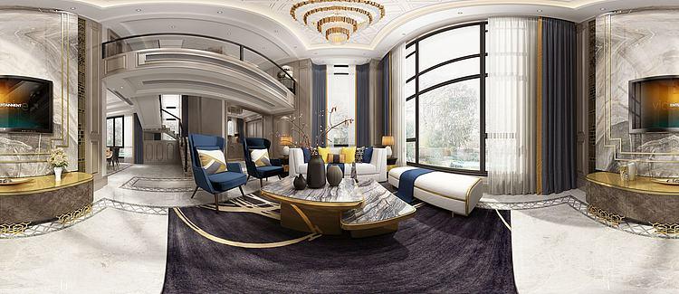 全景新中式别墅客厅模型