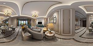 全景新中式輕奢客廳模型3d模型