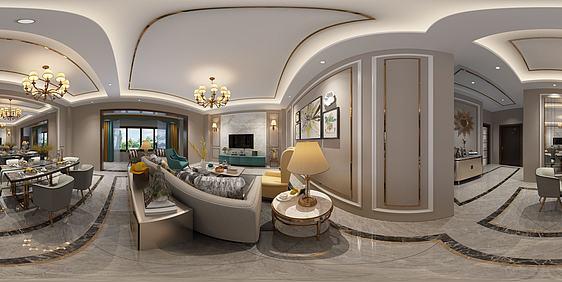3d全景新中式轻奢客厅模型