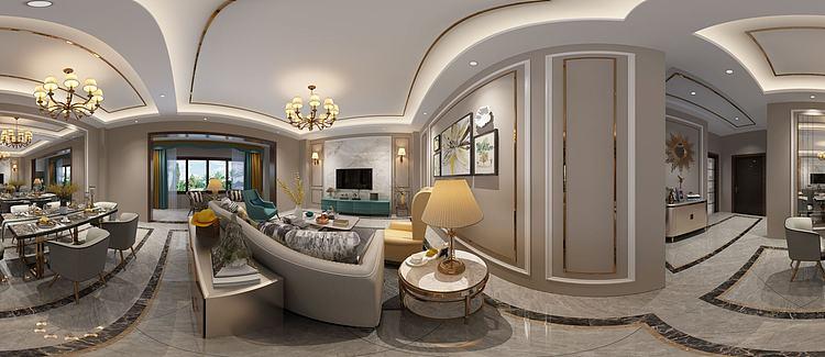 全景新中式轻奢客厅模型