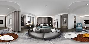 全景現代臥室模型3d模型