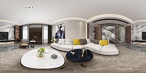 全景現代客廳模型3d模型