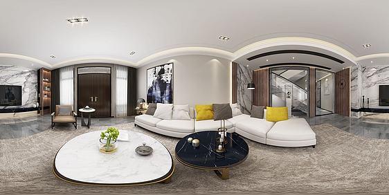 3d全景现代客厅模型