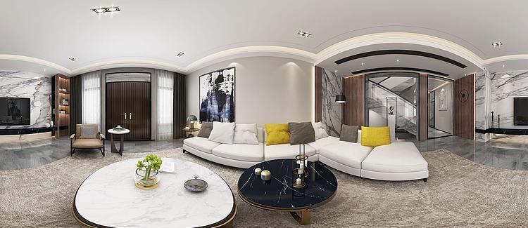 全景现代客厅模型