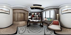 全景新中式書房模型3d模型