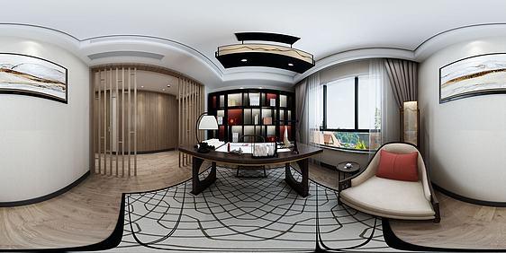 3d全景新中式书房模型