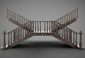 樓梯實木模型3d模型