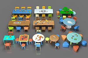 幼儿园儿童桌椅玩具组合模型模型