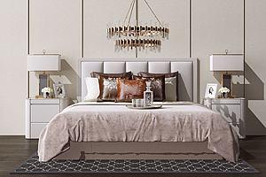 臥室雙人床及背景墻模型3d模型