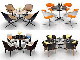 现代圆形洽谈餐桌椅组合模型模型