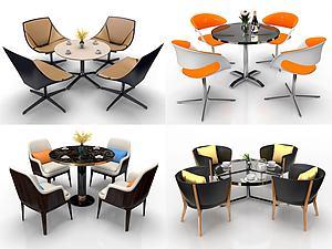 现代圆形洽谈餐桌椅组合模型3d模型