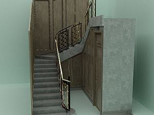 3d樓梯扶手護欄模型
