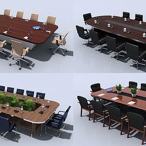 現代會議辦公桌椅3d模型