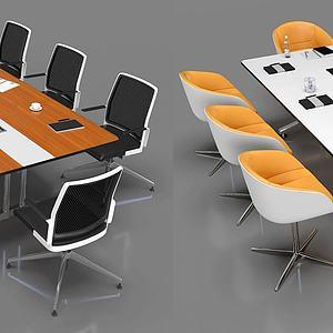 現代小型會議桌椅3d模型