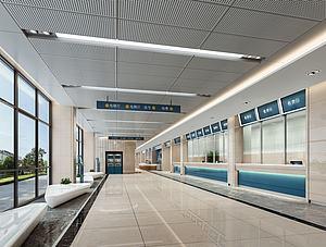 3d體檢中心大廳醫院模型