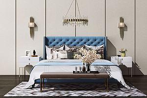 3d床及床頭背景模型