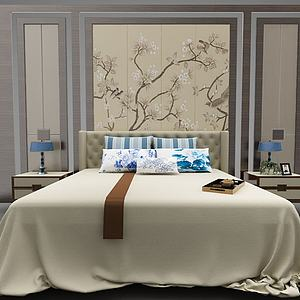 床及床頭背景3d模型