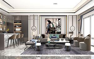 3d歐式客廳整套模型模型
