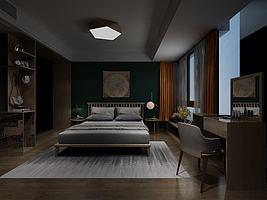 卧室双人床及背景墙
