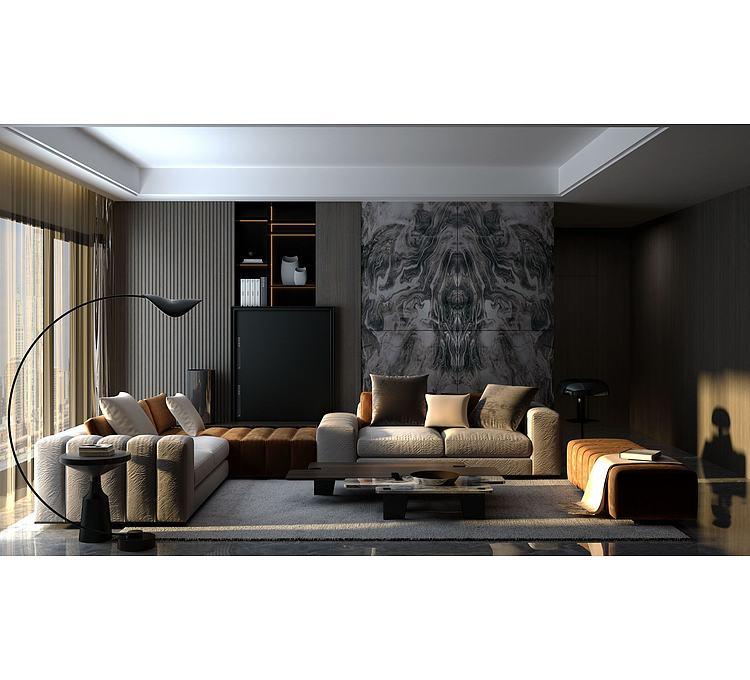 超现代客厅沙发模型