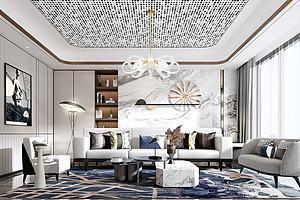 超现代客厅沙发模型模型