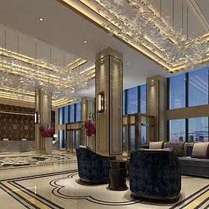 大堂酒店模型3d模型