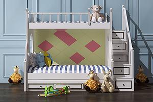 上下铺儿童床模型模型