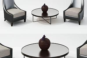 现代椅子茶几组合单人沙发模型模型