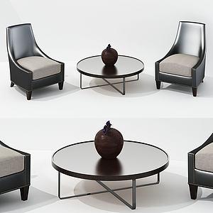 現代椅子茶幾組合單人沙發模型3d模型