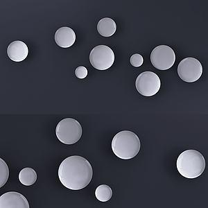 现代墙饰盘子挂件模型