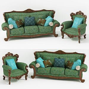美式綠皮沙發多人沙發組合模型3d模型
