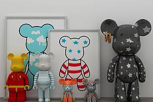 现代暴力熊玩具摆件3d模型模型模型