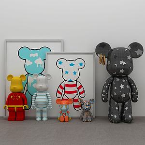 现代暴力熊玩具摆件3d模型模型3d模型