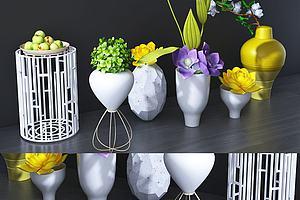 现代桌面摆件鲜花插件绿植模型模型