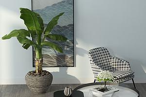现代休闲单人沙发模型模型