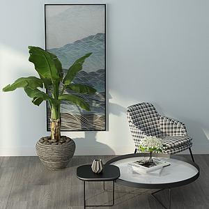 現代休閑單人沙發模型3d模型
