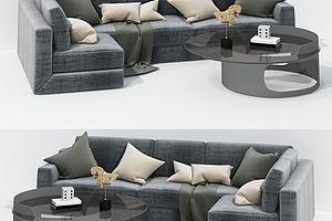 现代布艺榻榻米式沙发模型模型