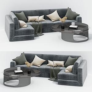 現代布藝榻榻米式沙發模型3d模型