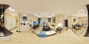歐式簡約客廳模型3d模型