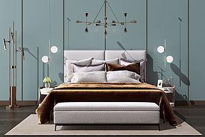 卧室床模型模型