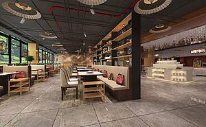 火鍋店餐廳大廳區域模型3d模型