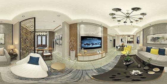 3d客廳全景效果圖模型