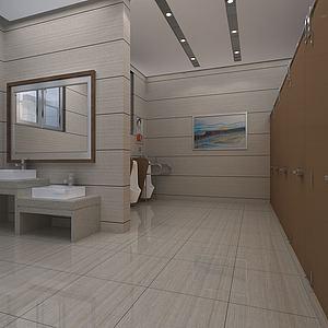 公共廁所室內透視3d模型