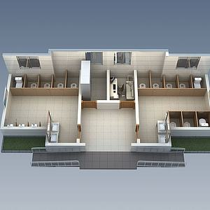 公共廁所3d模型