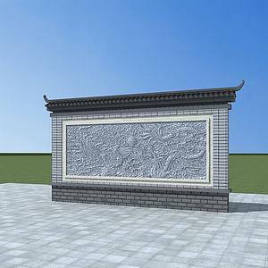 照壁模型3d模型