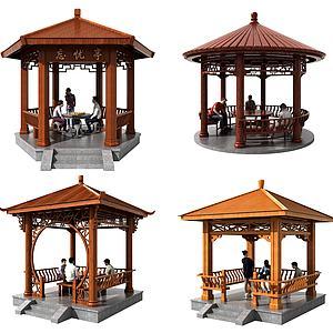 现代木质亭子凉亭组合模型3d模型