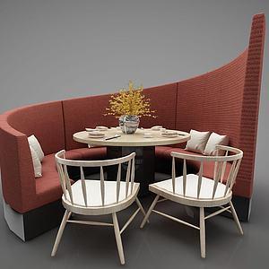 餐厅卡座3d模型