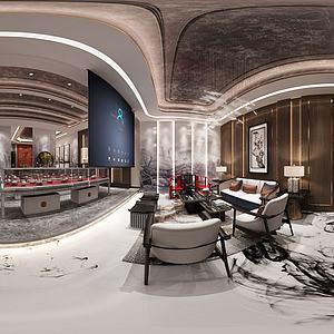 新中式茶室會所全景3d模型