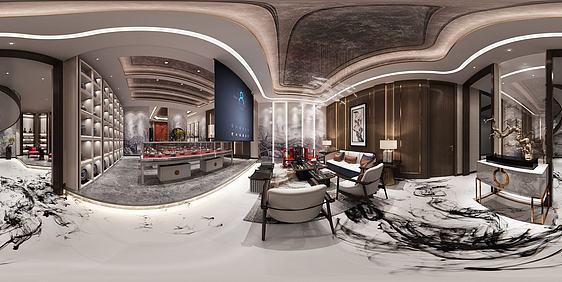 3d新中式茶室會所全景模型