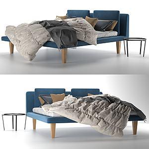 北歐簡約雙人床模型3d模型